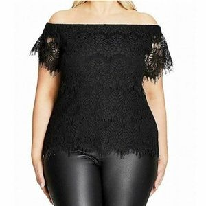 City Chic Womens 18W  J1-05 Solid Black Lace Top
